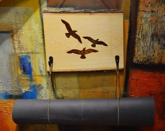 Birds - Woodburned Yoga Mat Hanger
