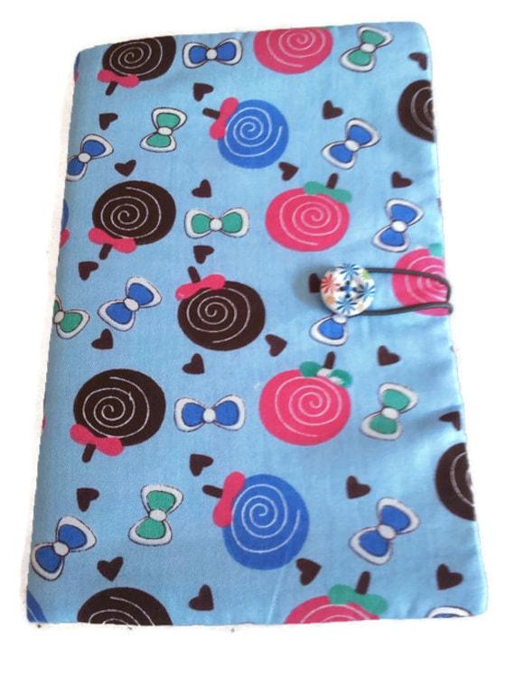 Fabric book cover, cotton book cover, lollypops book cover, blue fabric book cover, pink lillypops