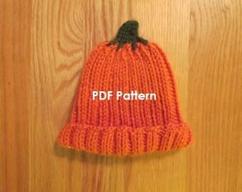 PATTERN   Knitted Baby Pumpkin Hat   Size newborn to 10 years   Halloween Pumpkin Beanie   Halloween Costume   Thanksgiving   Autumn Season