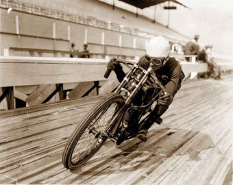 Harley Davidson photo vintage motorcycle print, poster motordrome racing antique photograph motorcyclist print