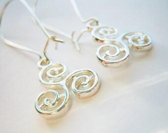 Silver plated triskelion dangle drop earrings pretty gift for her spring birthday simple elegant twinkly earrings kidney wire earrings