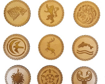 Game of Thrones Inspired Wooden Coasters - Set of 9 Engraved House Sigils (Cherry)