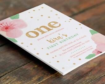 Floral First Birthday Customised Invitation A6 (Digital File - Printable PDF)