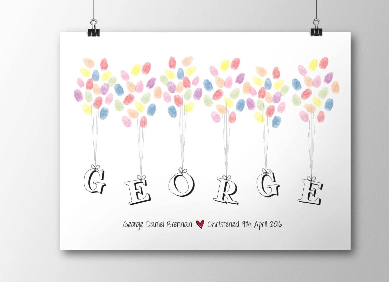 Christening Fingerprint Balloon Guestbook A4 Nursery Print