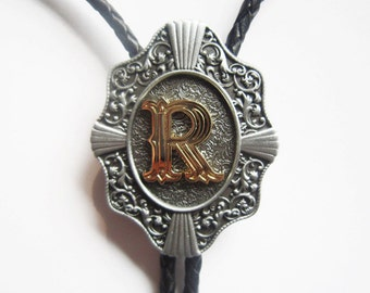 "Initial Letter ""R"" Western Cowboy Rodeo Bolo Tie"