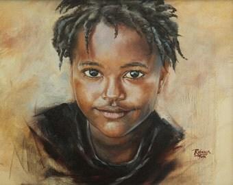 Original oil painting, Caribbean child, child art, portrait, 11x14