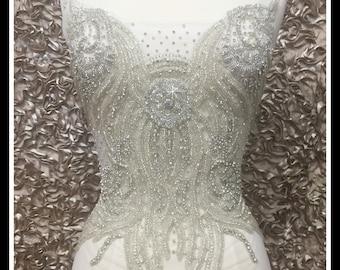 Bridal Gown Beaded Rhinestone Applique #0504