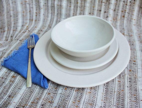 Eggshell Dinnerware Set Handmade Stoneware Pottery