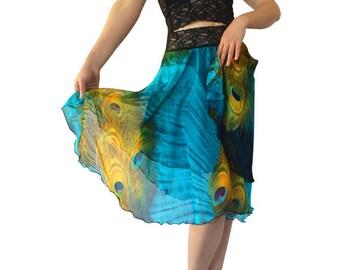Turquoise Peacock Chiffon Circle Tango Skirt