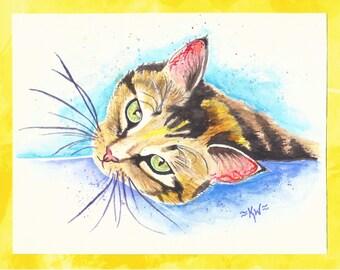 Green Eye Cat *Original Watercolor Painting*