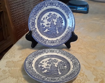 Set of 2 Old Willow Ironstone Bread Plates, Made In England, blue willow, blue and white, transfer ware, desert plate, English ironstone
