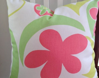 "Floral decorative pillow, 18"" square, large print, citrine, lime green, coral, white"