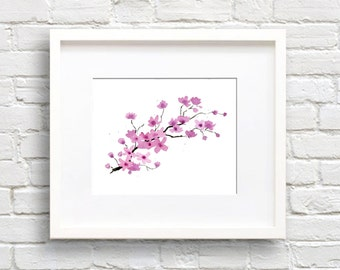 Cherry Blossoms Art Print - Wall Decor - Kitchen Watercolor Painting