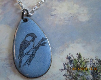 chickadee, copper enamel necklace on a silver plated chain