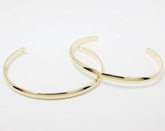L0003/Anti-tarnished Gold Plating Over Brass/Simple Thick Bracelet /55mm x 40mm,4mm thickness/2pcs