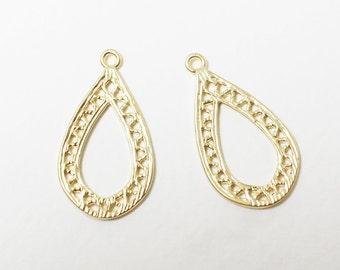 P0453/Anti-tarnished Matte Gold Plating Over Brass /Teardrop Pendant/23x12mm/2pcs