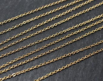 N0001/Anti-Tarnished Gold Plating Over Brass/225SF Flat cable chain/1.1x1.5mm/45cm