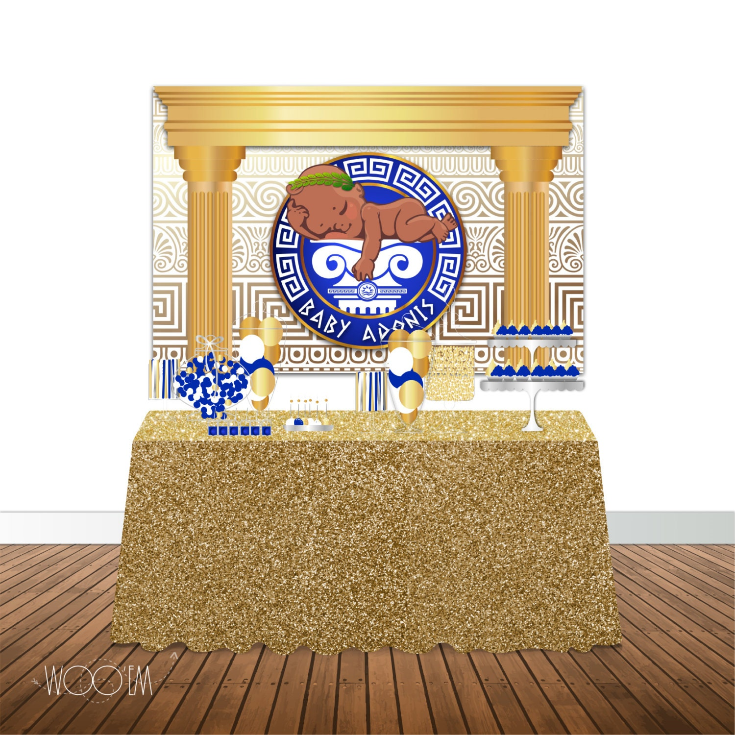 Greek Themed Baby Shower 6x4 Candy Buffet Table Banner