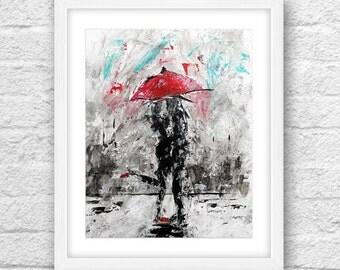 Abstract Art , Couple Art, Love Art, Black n White Art, Red Umbrella, Umbrella Art, Wall Art, Couple Kissing, Couple Rain City,Abstract love