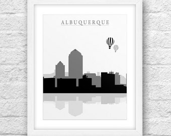 Albuquerque City, Albuquerque Printable, Albuquerque Art, Albuquerque Skyline, Minimalist Art, Instant Download, Albuquerque Hot air Balloon