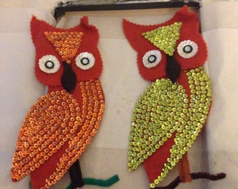 Kitschy Vintage Handcrafted Owl Magnets Felt/Sequins