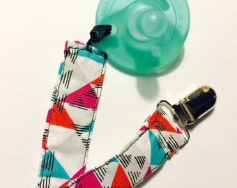 Pink and Blue Pacifier Clip