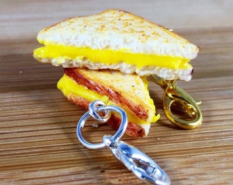 Polymer clay grilled cheese charm or key ring