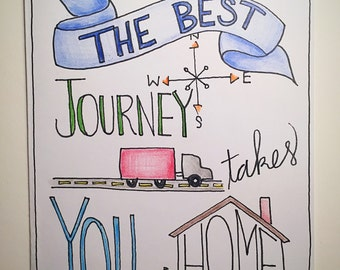The Best Journey Takes You Home - blank greeting card