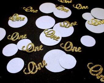 Blue and Silver ONE Confetti. Confetti. First Birthday Party 1st Birthday Boy  Silver Glitter Confetti Gold and Blue ONE Confetti.
