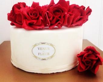6 Fondant Roses I 6 Gumpaste Roses I Fondant Flowers Gumpaste Flowers Edible Flowers Edible Roses Cake Toppers Wedding Cake Toppers