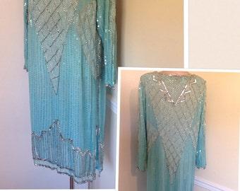 Vintage 1980s Does 1920s Silk beaded FLAPPER GATSBY Drop waist Dress best fit S/M