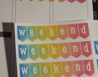 NEW Pastel Rainbow Weekend Banners, Set of 24 Stickers!