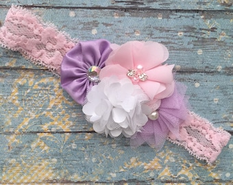 lavender pink and white baby headband-vintage lace pearl pink baby headband-lavender pink headband-lavender white and pink baby headband