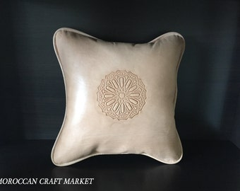 Moroccan Leather Decorative Pillow