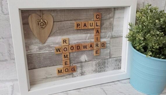 Frame Company Personalised Scrabble Art  Handmade Wooden White Box Frame