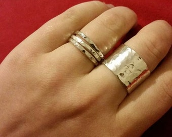 Hammered sterling silver stacker rings