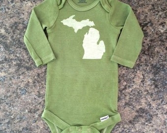 Green and White Michigan onesie