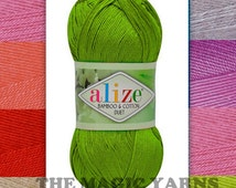 Bamboo&Cotton Duet Alize yarn, natural yarn, fingering weight, fine, baby weight, 3-4ply, 16wpi, jade, acid, orchid, sky blue,sochi blue