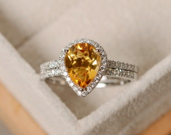 pear citrine ring, engagement ring, sterling silver, finished with rhodium, promise ring