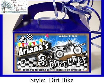 Motorcycle Dirt Bike BIRTHDAY Goody Box Loot Favors Personalized with your childs name etc.
