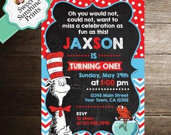 Cat in the Hat Birthday Invitation - Boy Girl - Dr. Seuss Birthday Invite- Chalk Board - Chalk Board Background - Cat in the Hat Chalk Board