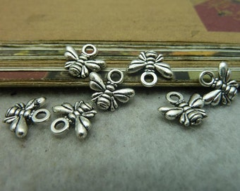 BULK 50 Bee Charms Antique Silver Tone