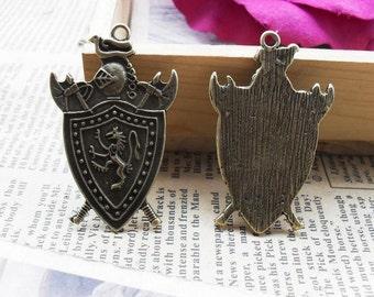 5 Shield Charms Antique Bronze Tone - WS832