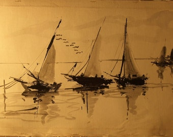 Vintage Sailboat Painting.  12X24