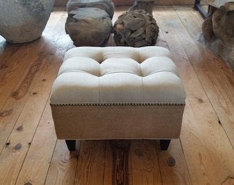 Upholstered. Tufted. Linen and Burlap Ottoman with Nail Head~ Design 59