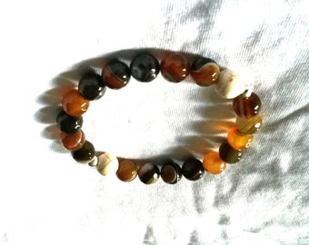 10mm Yellow-Brown Faceted Banded Agate Bracelet