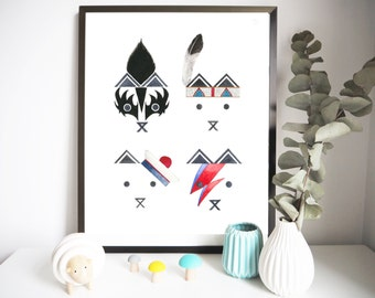 """Poster """"TINY COLLECTION"""" 30 x 40 cm - Illustration for children's bedroom - design handpainted - graphic Poster"""