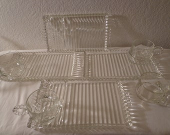 Vintage Stunning Glass Snack Plates with Cups - 4