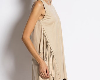 D5101 Sleeveless Fringed Tunic Long Top Mini Dress
