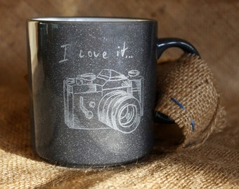 Ceramic cup, photographer gift, black cup, gray, gift for him, original cup, unisex, clay mug, custom gift, stoneware, pottery cup, tea cup